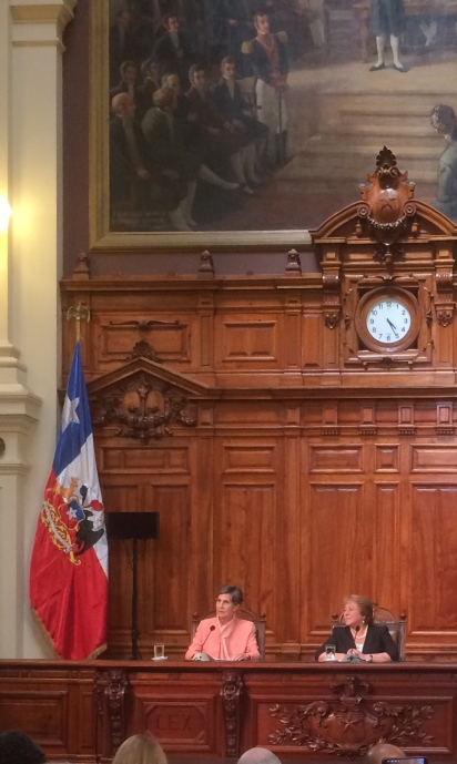 President of Chile's Senate Isabel Allende and President of Chile Michelle Bachelet